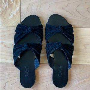 RAYE Naomi twist knit black suede sandals, Sz 8